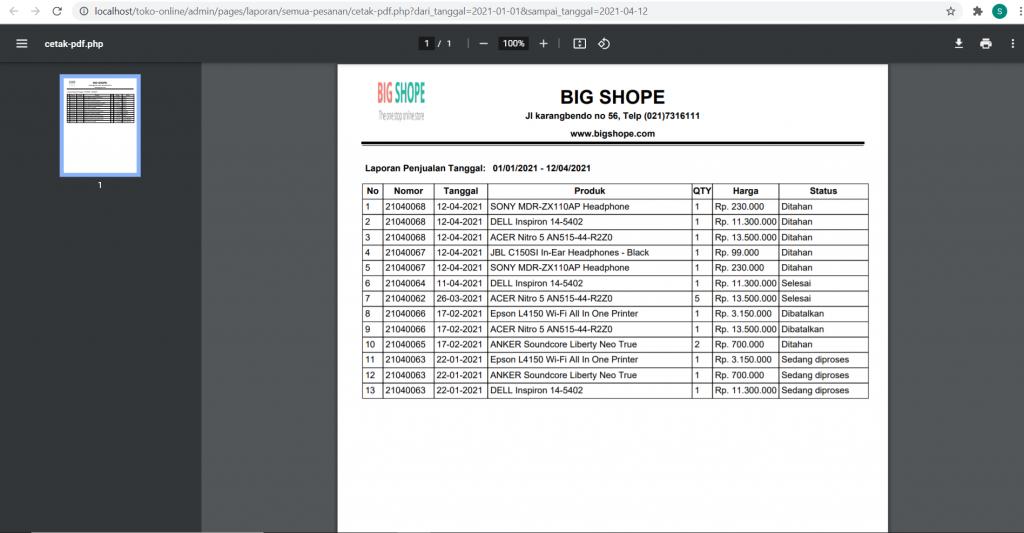 cetak laporan PDF