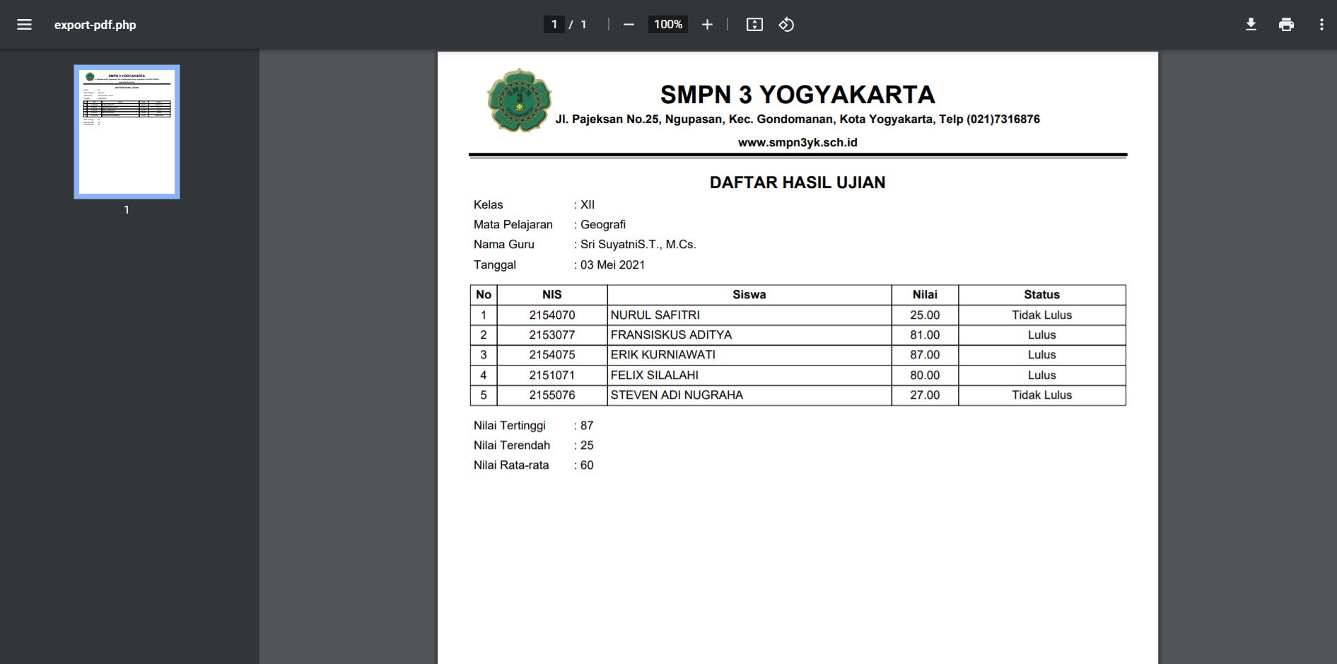 export PDF hasil ujian