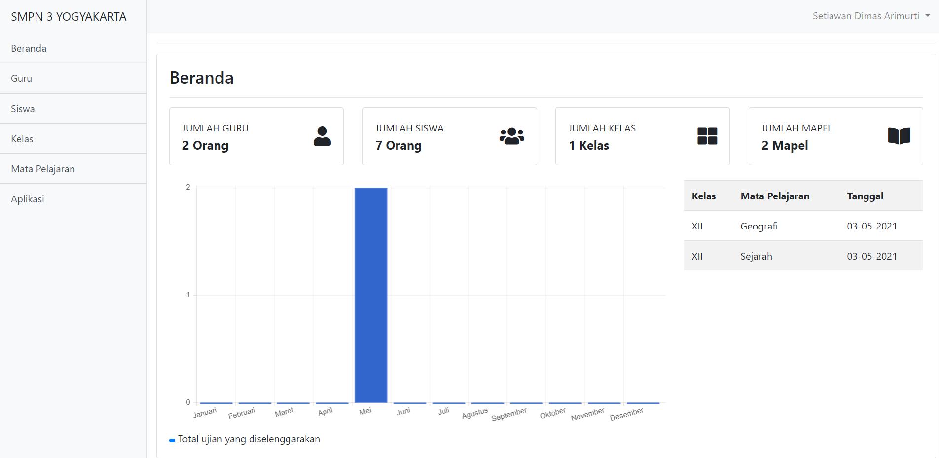 Halaman beranda aplikasi ujian online berbasis web
